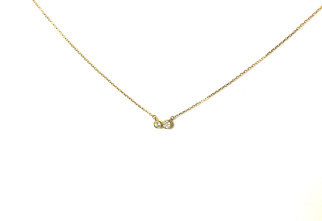 Necklace with two dainty cubic zirconia pendants - Ilumine Gallery Store dainty jewelry affordable fine jewelry