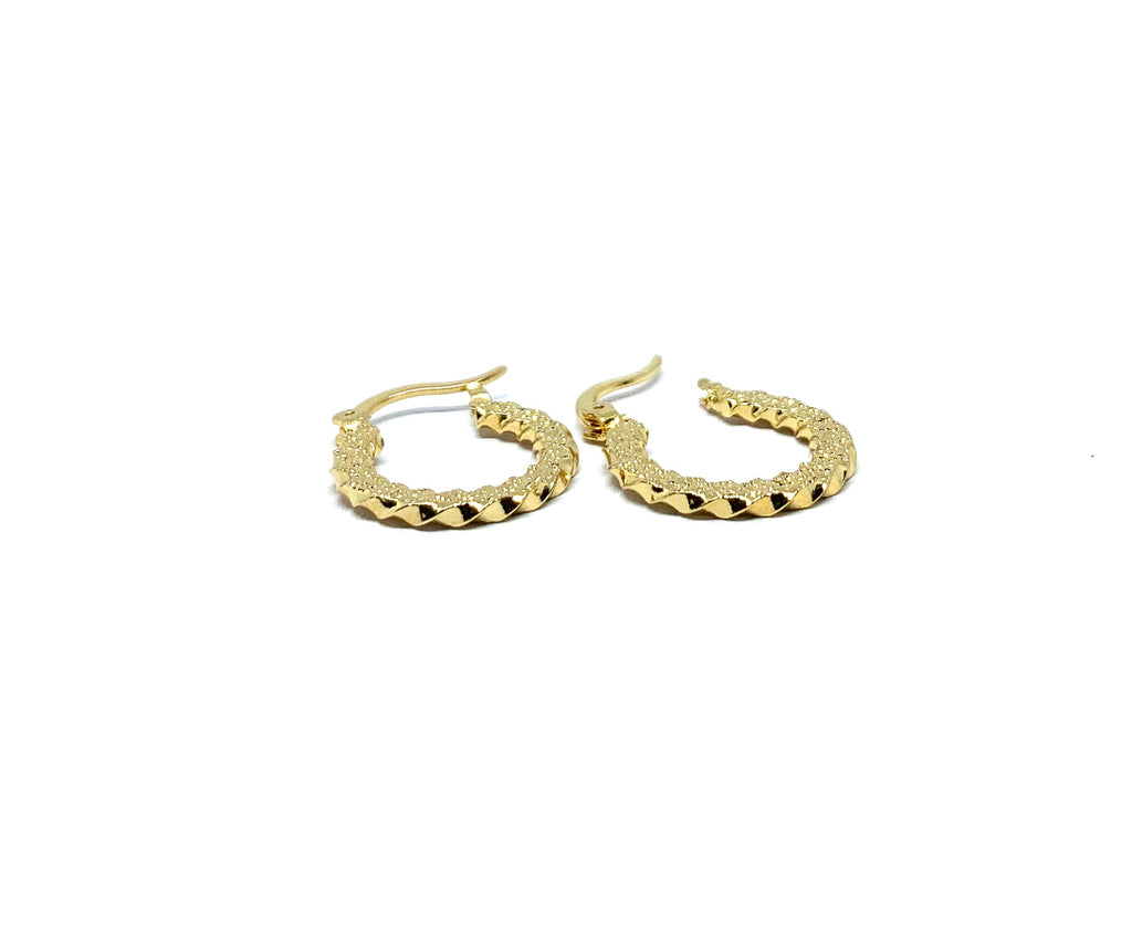 Earrings yellow gold overlay mini rope hoop - Ilumine Gallery Store dainty jewelry affordable fine jewelry