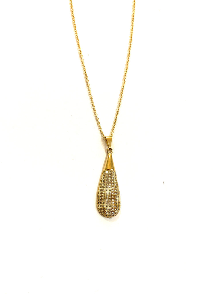 Gold dewdrop necklace with crystal
