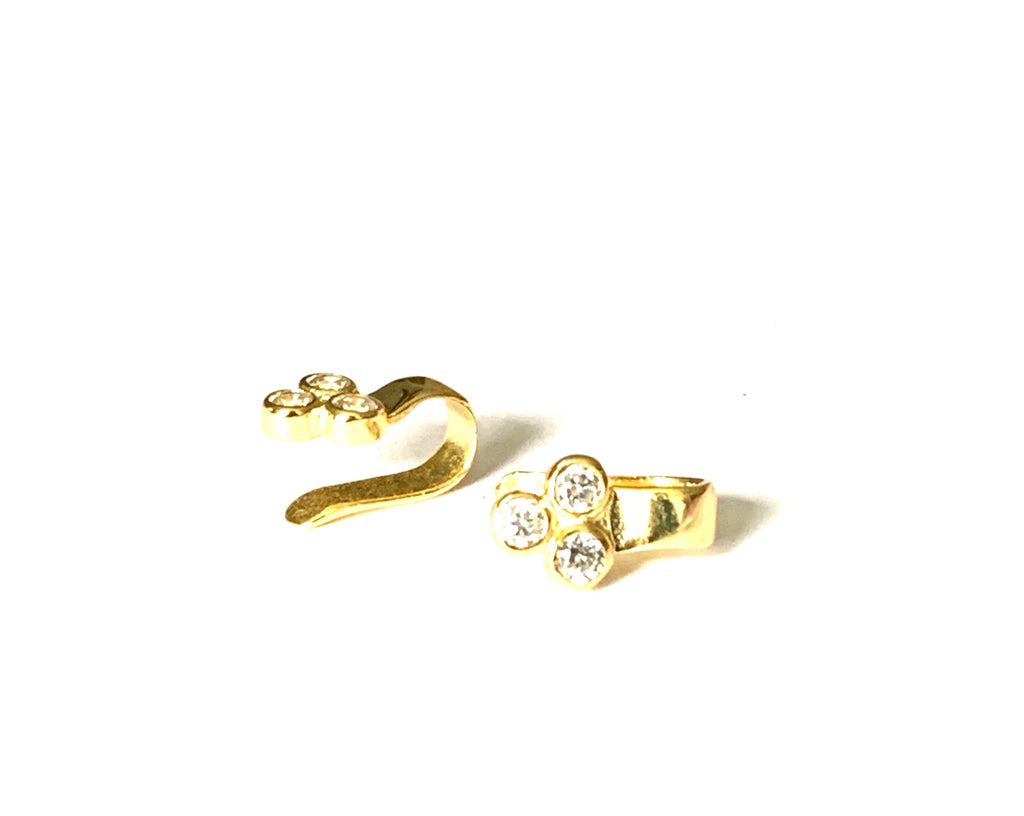 Yellow gold three diamond ear cuff - Ilumine Gallery Store dainty jewelry affordable fine jewelry