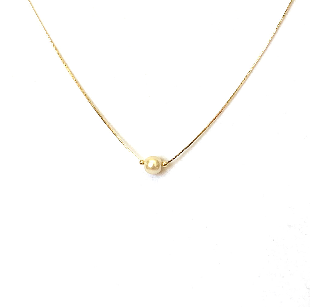 Gold Vermeil Floating Pearl Necklace - Ilumine Gallery Store dainty jewelry affordable fine jewelry