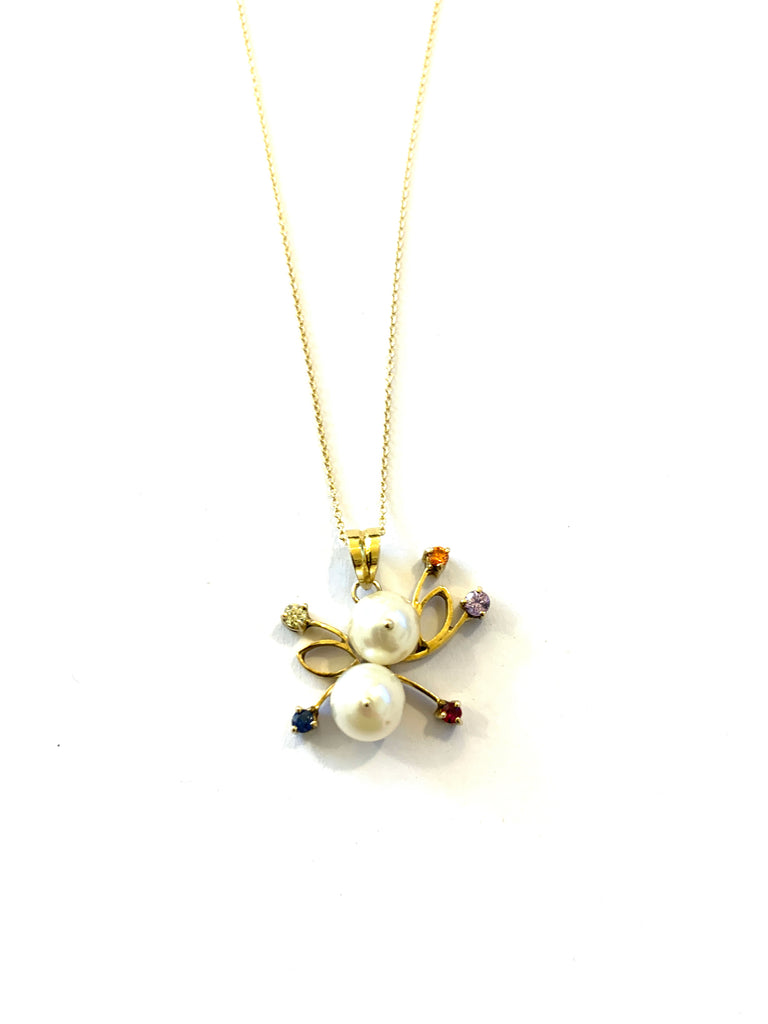 Solid gold pearl and gemstone necklace