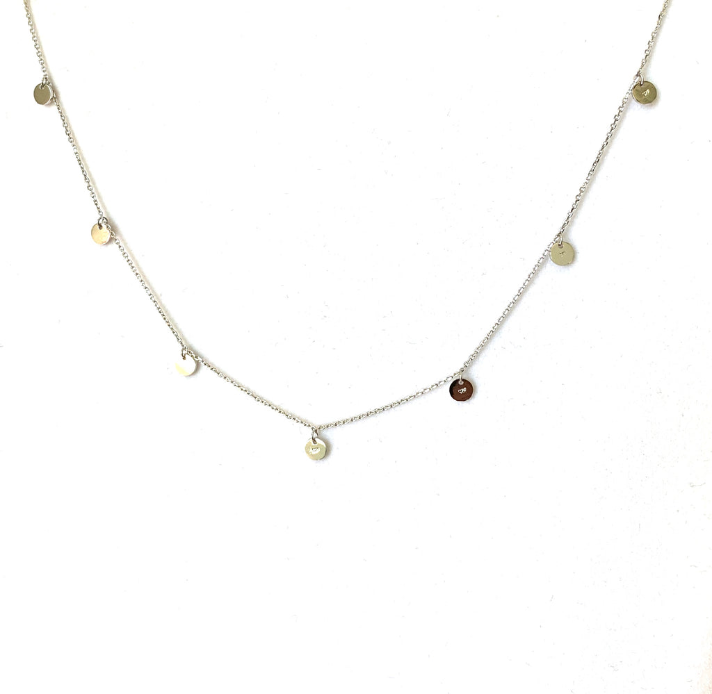 Necklace sterling silver 925 with round disk - Ilumine Gallery Store dainty jewelry affordable fine jewelry