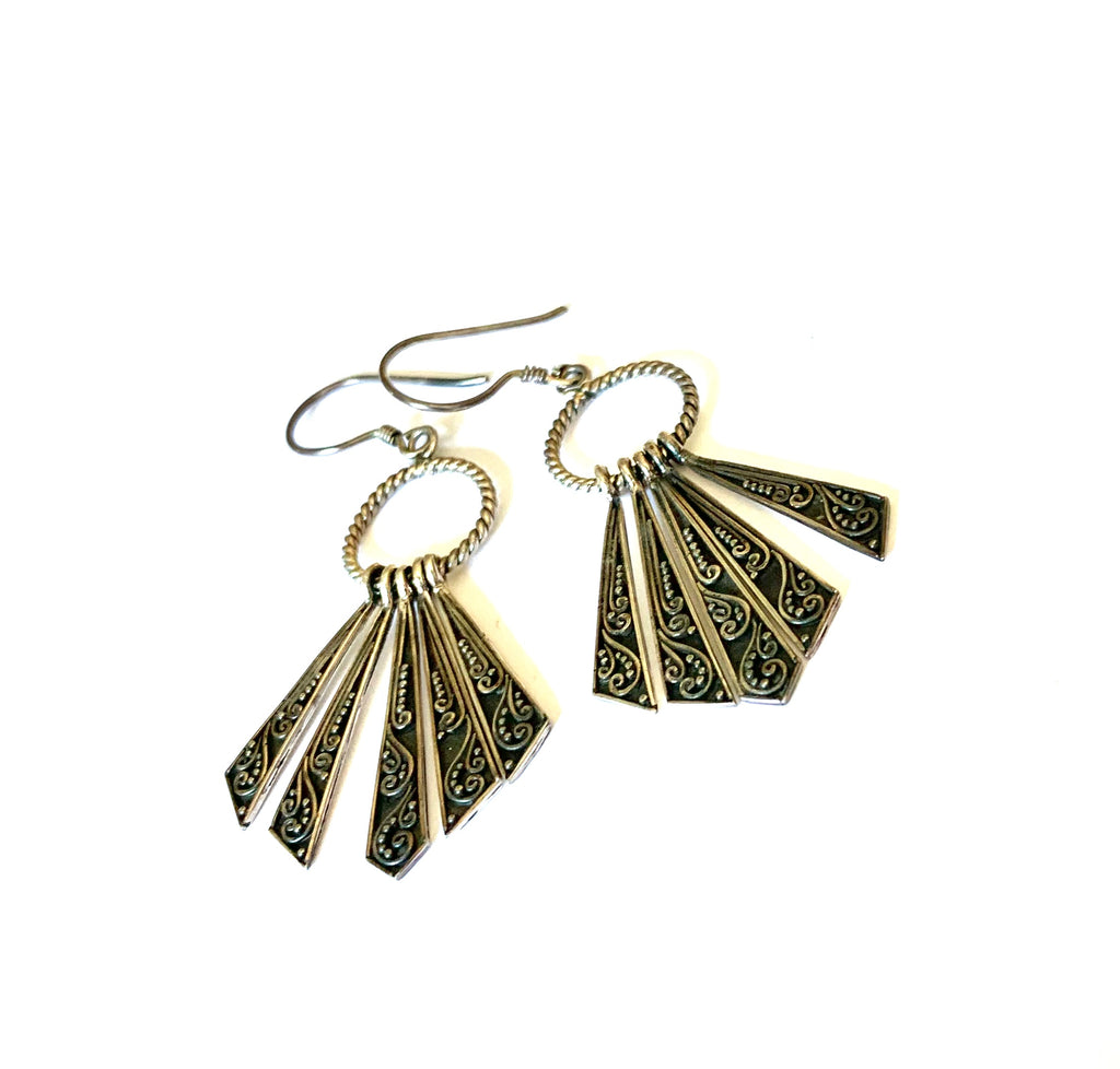 Sterling silver handcrafted fan earrings - Ilumine Gallery Store dainty jewelry affordable fine jewelry