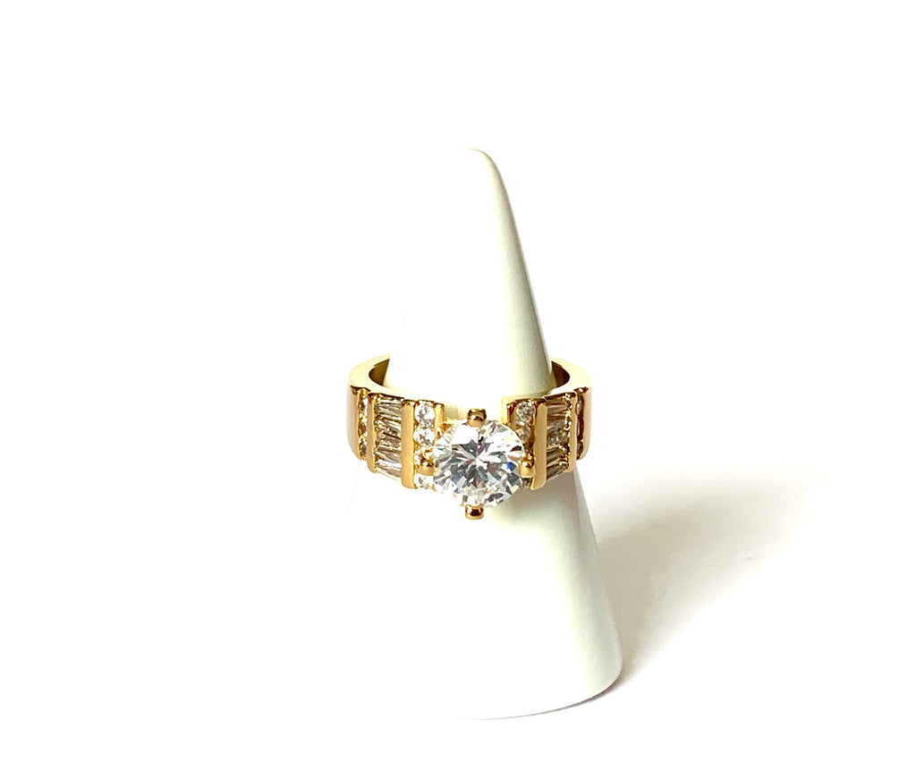 Rings yellow gold with big cz center stone - Ilumine Gallery Store dainty jewelry affordable fine jewelry