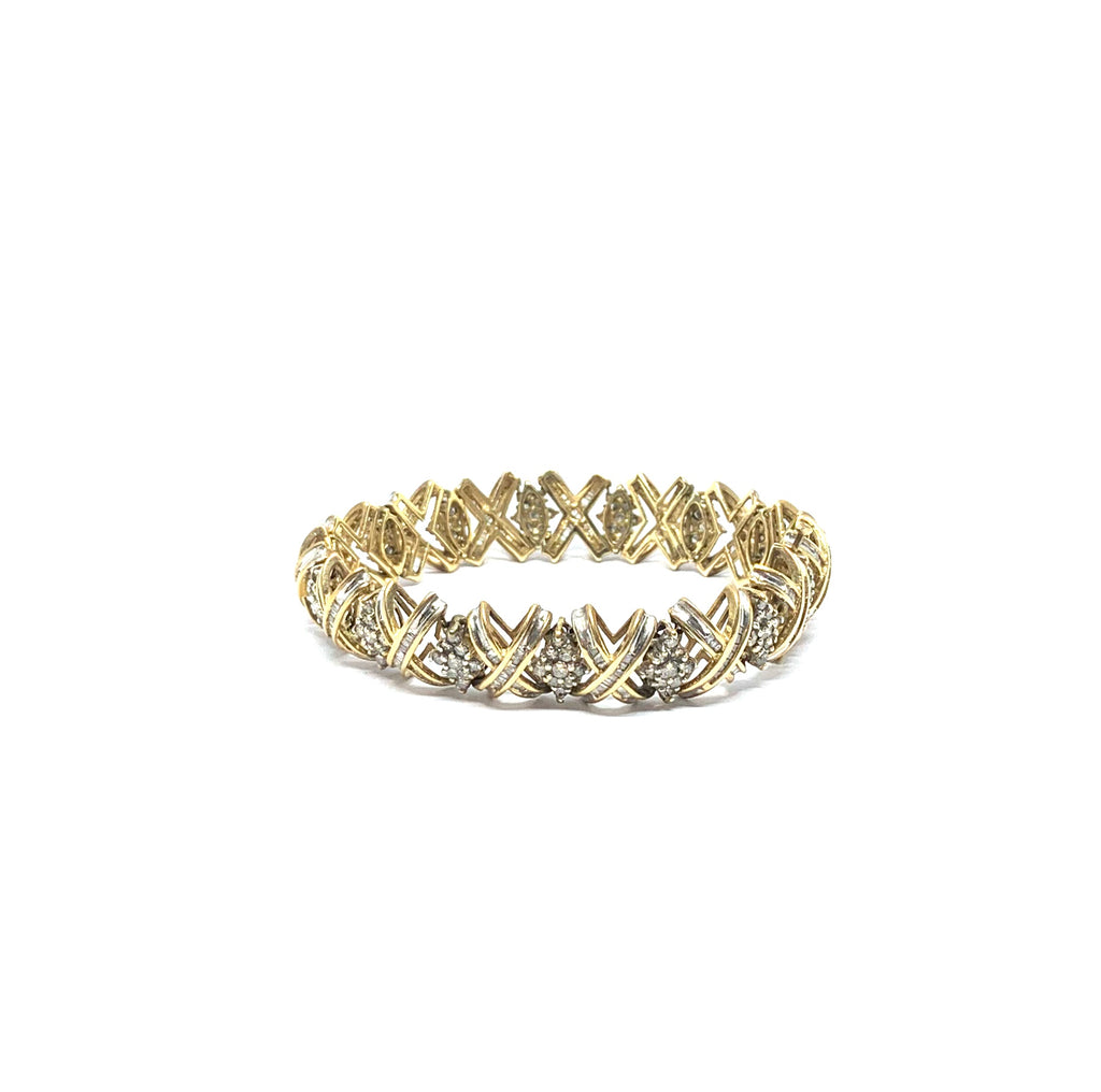 Solid gold bracelet with 6 ctw round and baguette diamonds - Ilumine Gallery Store dainty jewelry affordable fine jewelry
