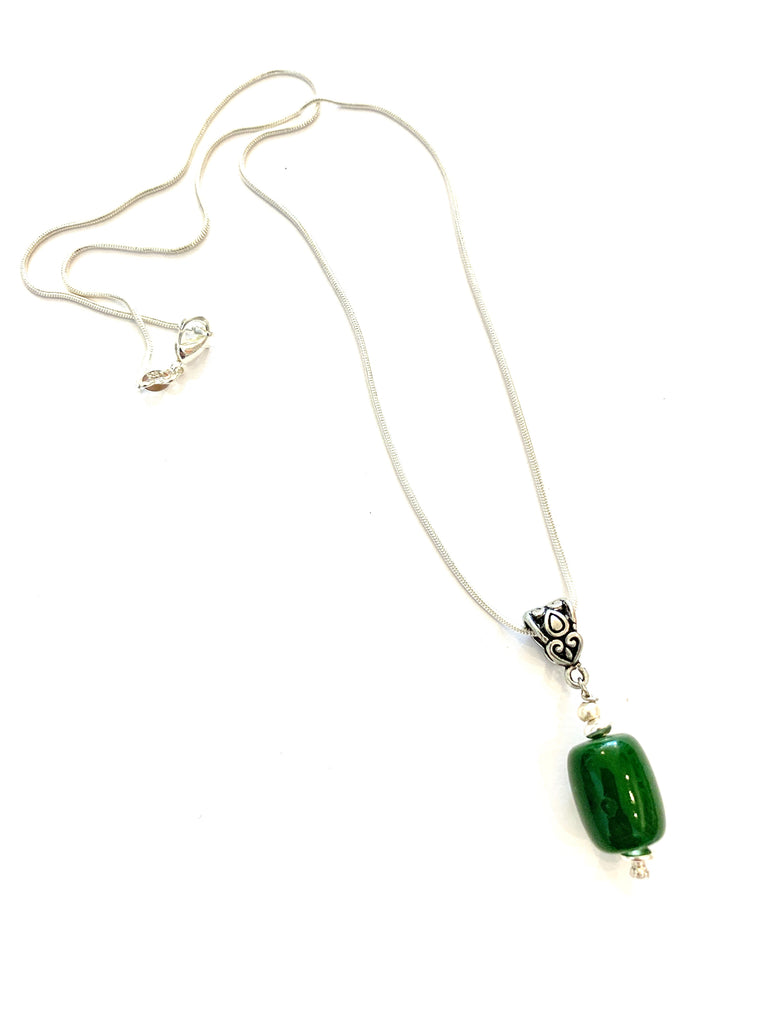 Sterling silver jade pendant - Ilumine Gallery Store dainty jewelry affordable fine jewelry