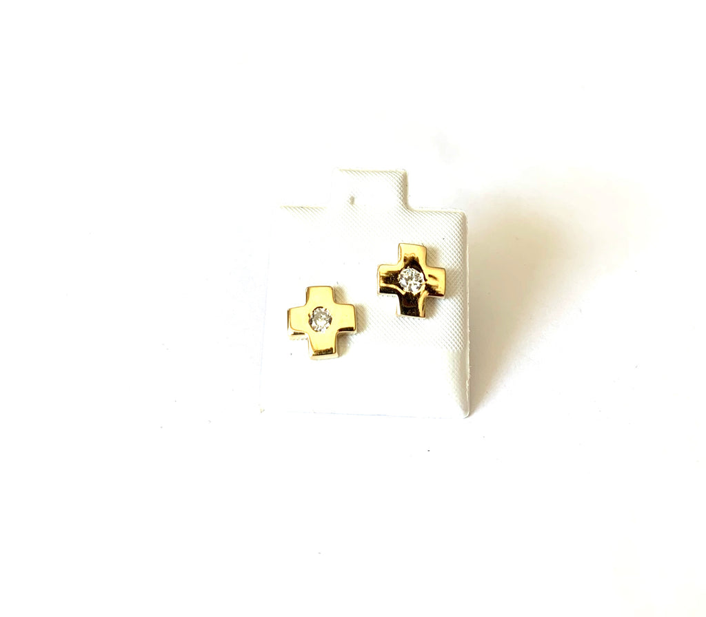 Earrings yellow gold cross studs with cz - Ilumine Gallery Store dainty jewelry affordable fine jewelry