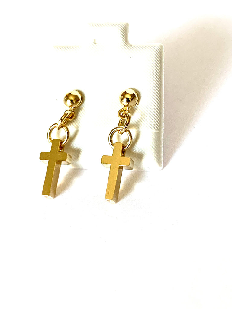 Earrings yellow gold dainty cross earrings - Ilumine Gallery Store dainty jewelry affordable fine jewelry