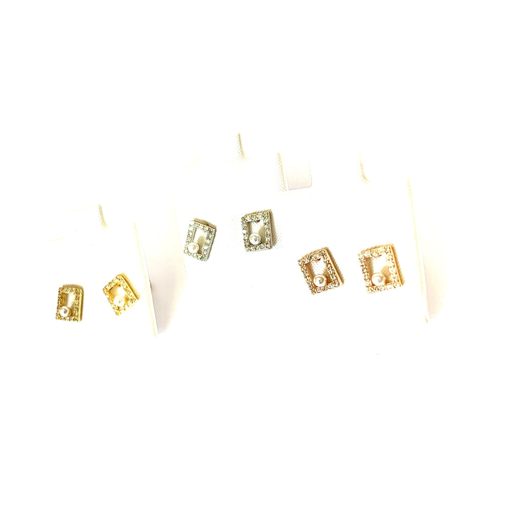 Earrings yellow or rose gold or sterling silver square studs - Ilumine Gallery Store dainty jewelry affordable fine jewelry