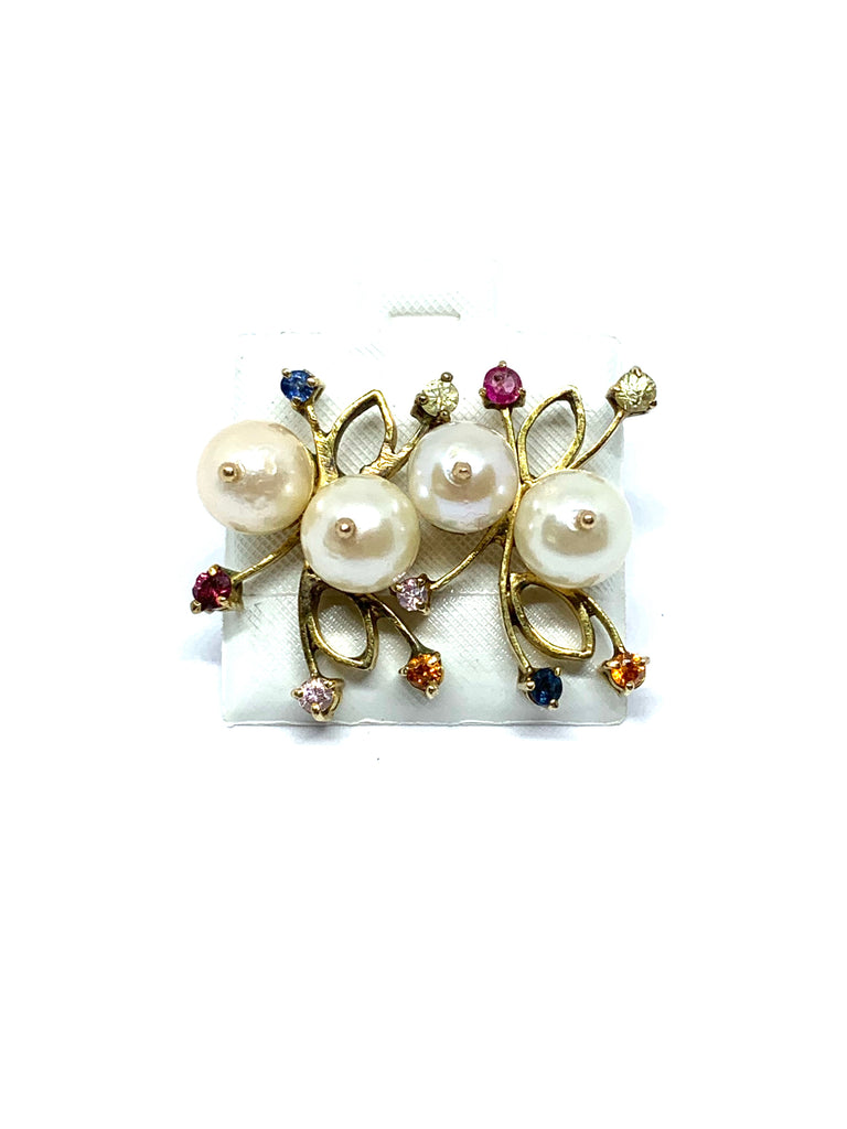 Gold vintage akoya pearl with gemstones - Ilumine Gallery Store dainty jewelry affordable fine jewelry