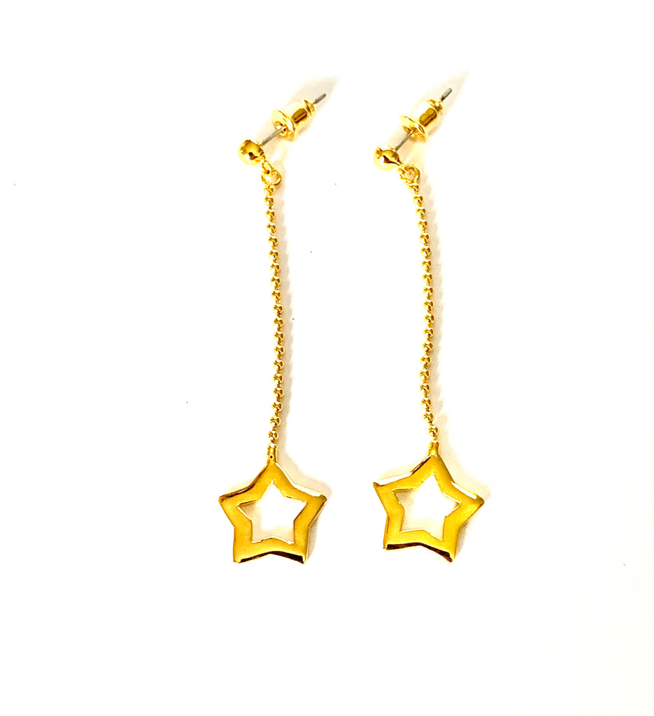 Earrings yellow gold long dropping star - Ilumine Gallery Store dainty jewelry affordable fine jewelry
