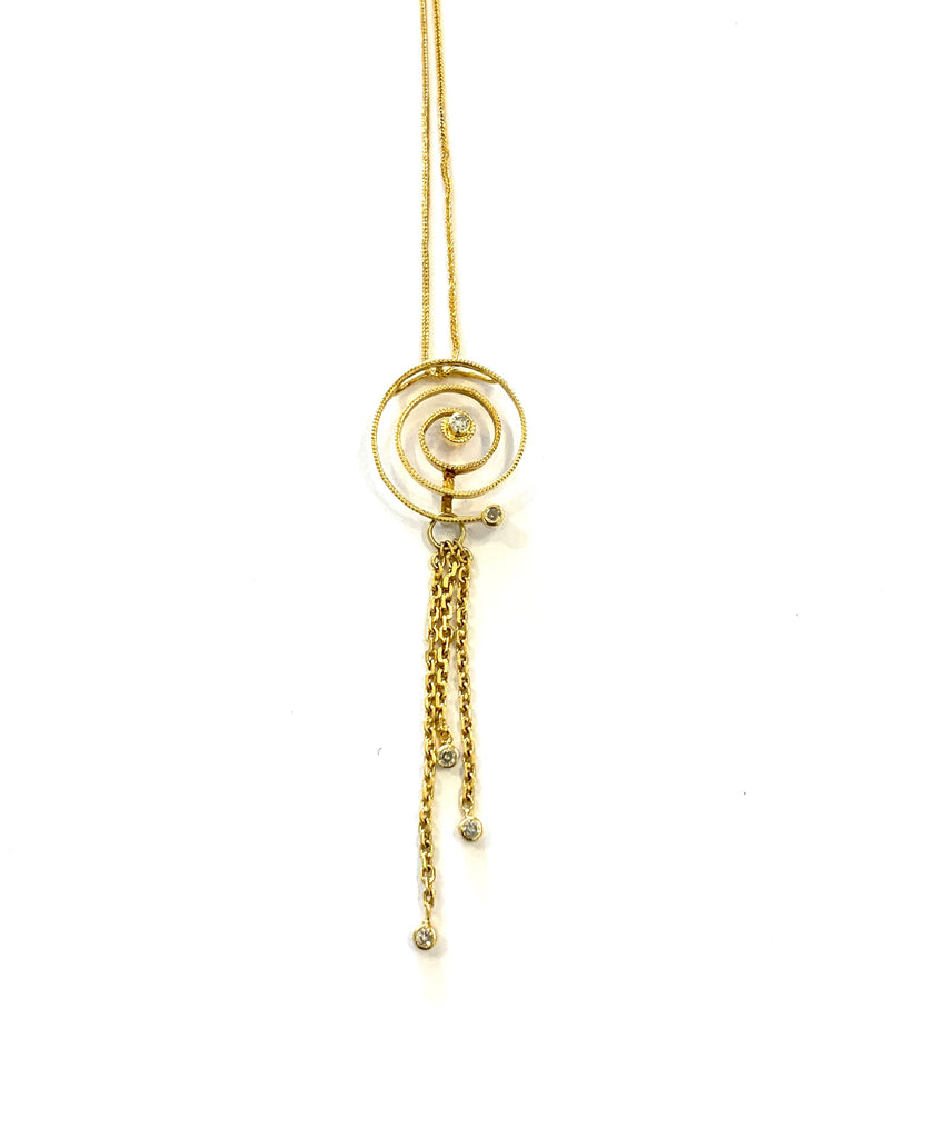 Gold spiral diamond necklace