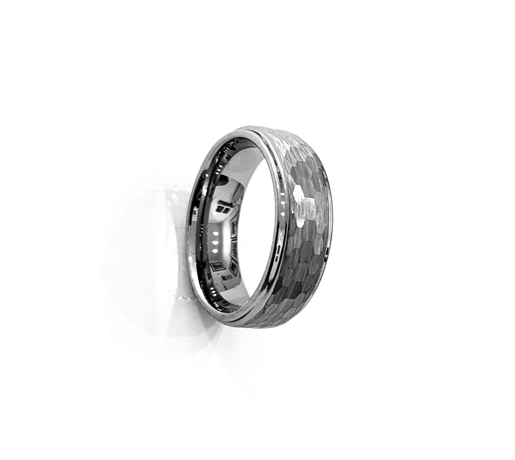 Tungsten ridged men's ring