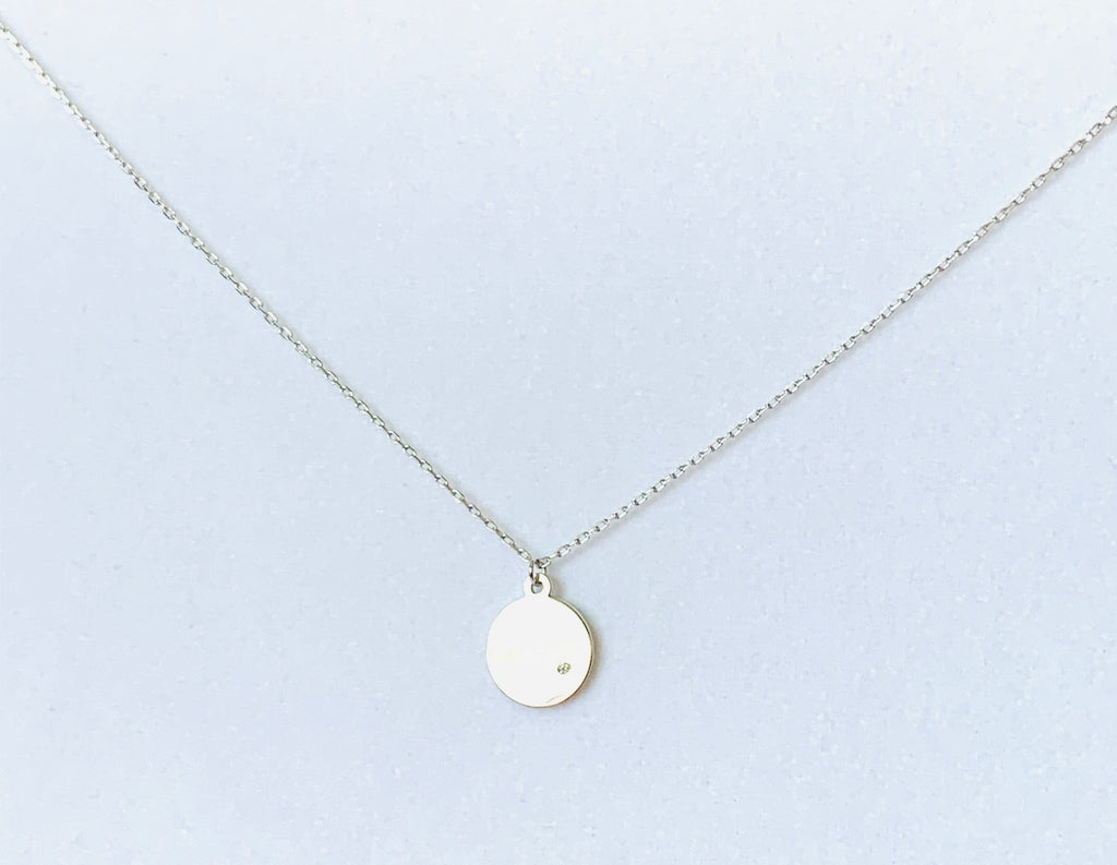 Necklace sterling silver circle and tiny dot diamond - Ilumine Gallery Store dainty jewelry affordable fine jewelry