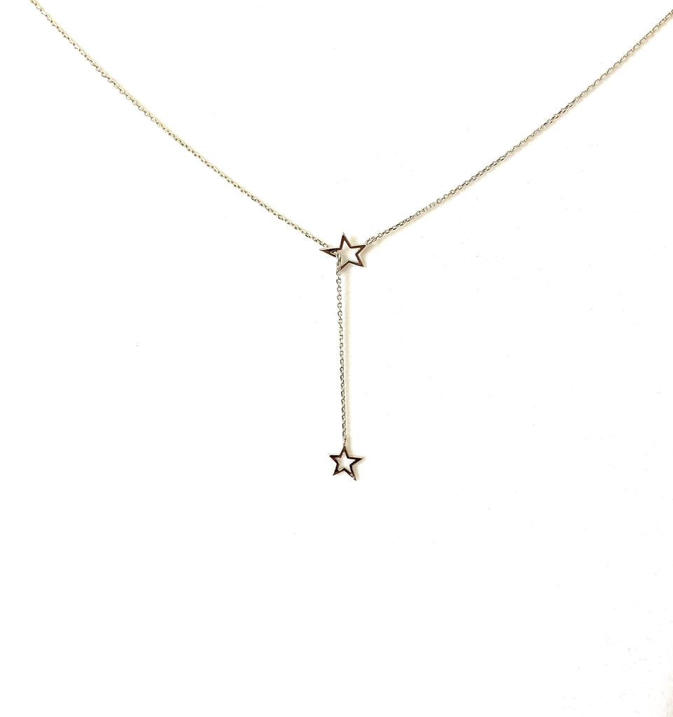 Necklace sterling silver lariat style with open stars - Ilumine Gallery Store dainty jewelry affordable fine jewelry