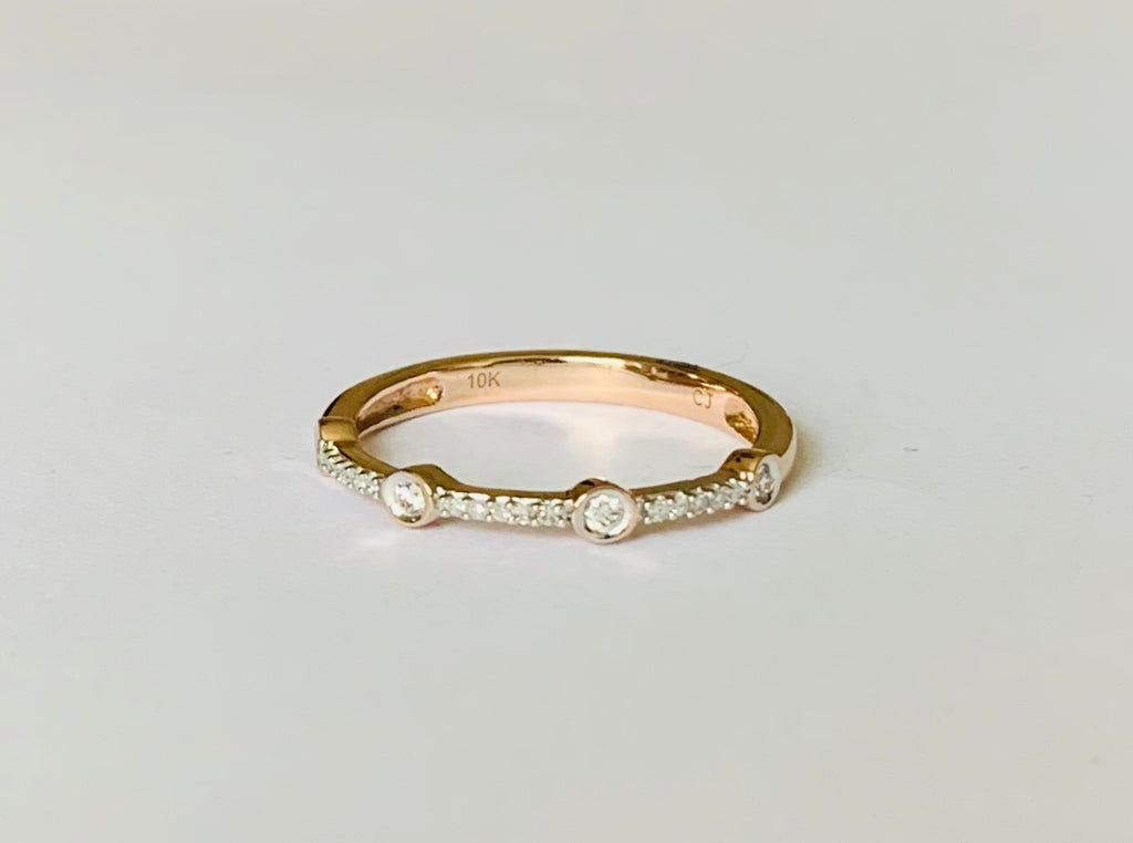 Ring solid rose gold diamond band ring - Ilumine Gallery Store dainty jewelry affordable fine jewelry