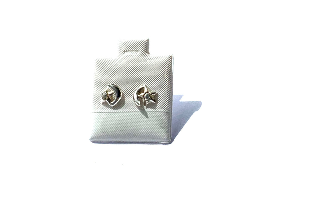 Earrings sterling silver stud moon and stars - Ilumine Gallery Store dainty jewelry affordable fine jewelry