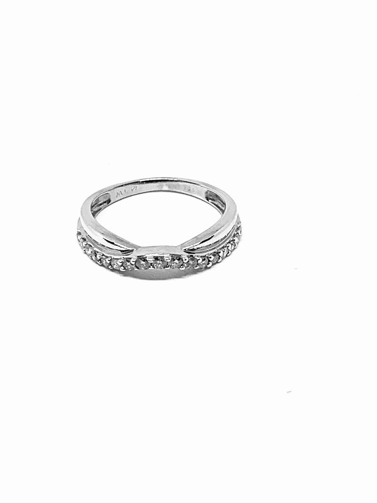 Ring solid white gold with diamonds double chevron ring - Ilumine Gallery Store dainty jewelry affordable fine jewelry