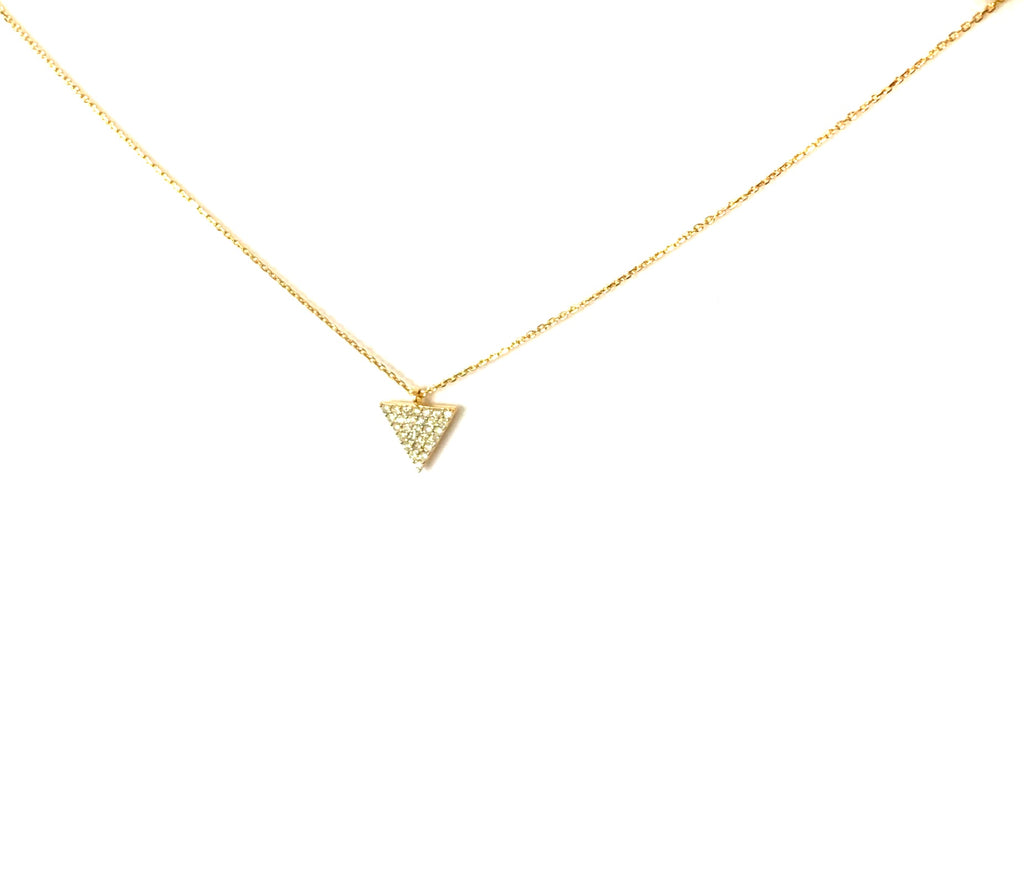 Necklace gold or silver crystal encrusted V pendant - Ilumine Gallery Store dainty jewelry affordable fine jewelry
