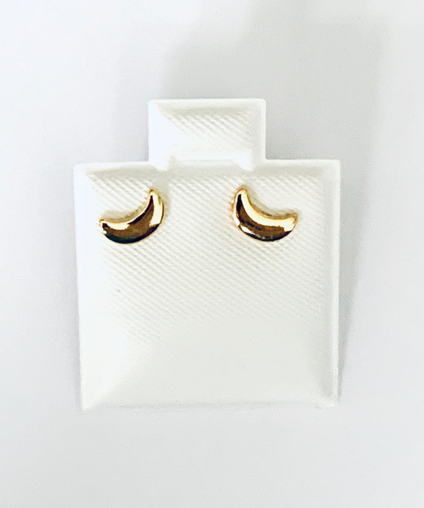Earrings yellow gold overlay moon studs - Ilumine Gallery Store dainty jewelry affordable fine jewelry