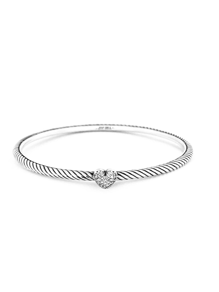 Designer silver diamond heart bangle - Ilumine Gallery Store dainty jewelry affordable fine jewelry