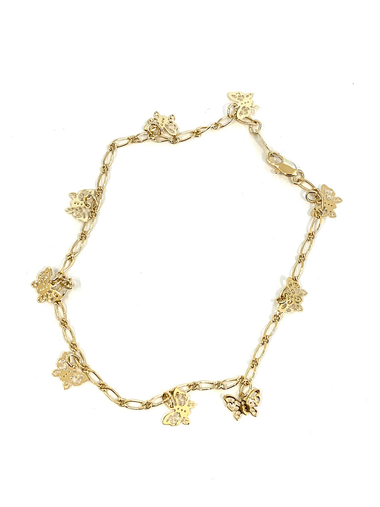 Yellow gold butterfly anklet - Ilumine Gallery Store dainty jewelry affordable fine jewelry