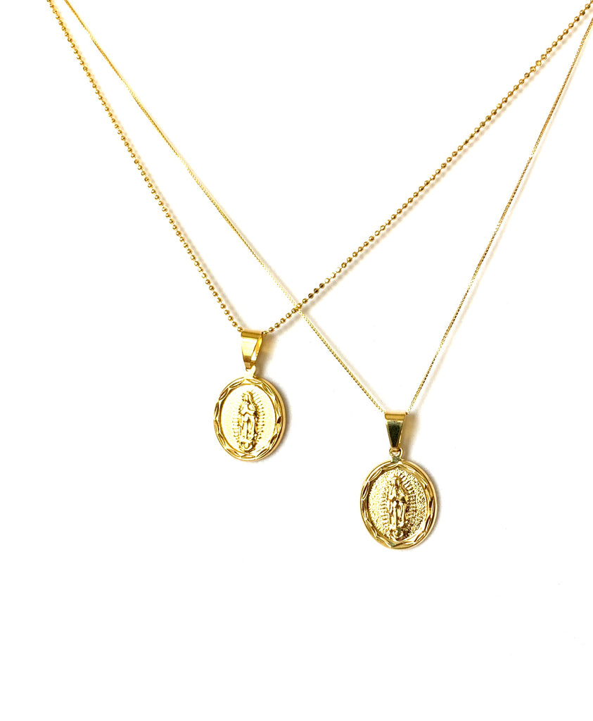 Gold necklace with the Virgin Mary pendant - Ilumine Gallery Store dainty jewelry affordable fine jewelry