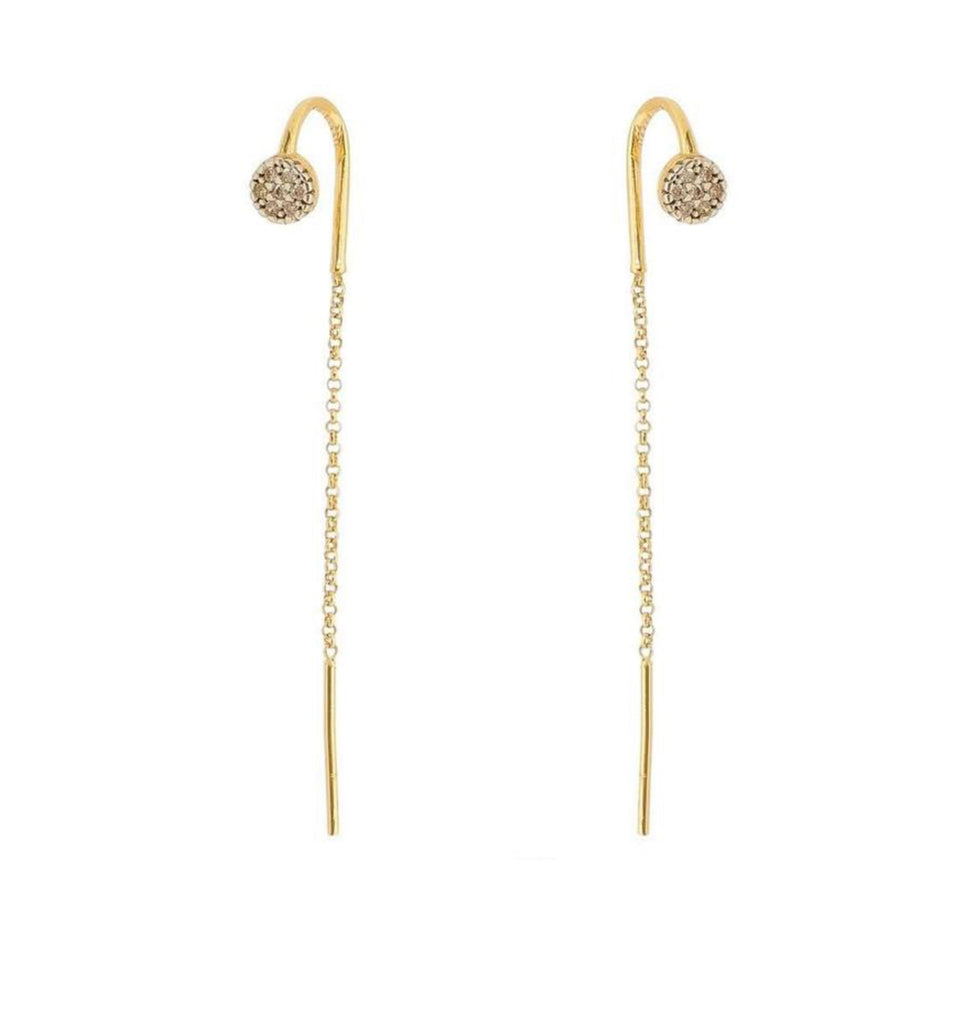 Earrings yellow gold cubic zirconia dot threader - Ilumine Gallery Store dainty jewelry affordable fine jewelry