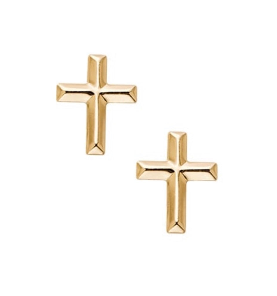 Earrings 14 kt solid yellow gold cross - Ilumine Gallery Store dainty jewelry affordable fine jewelry