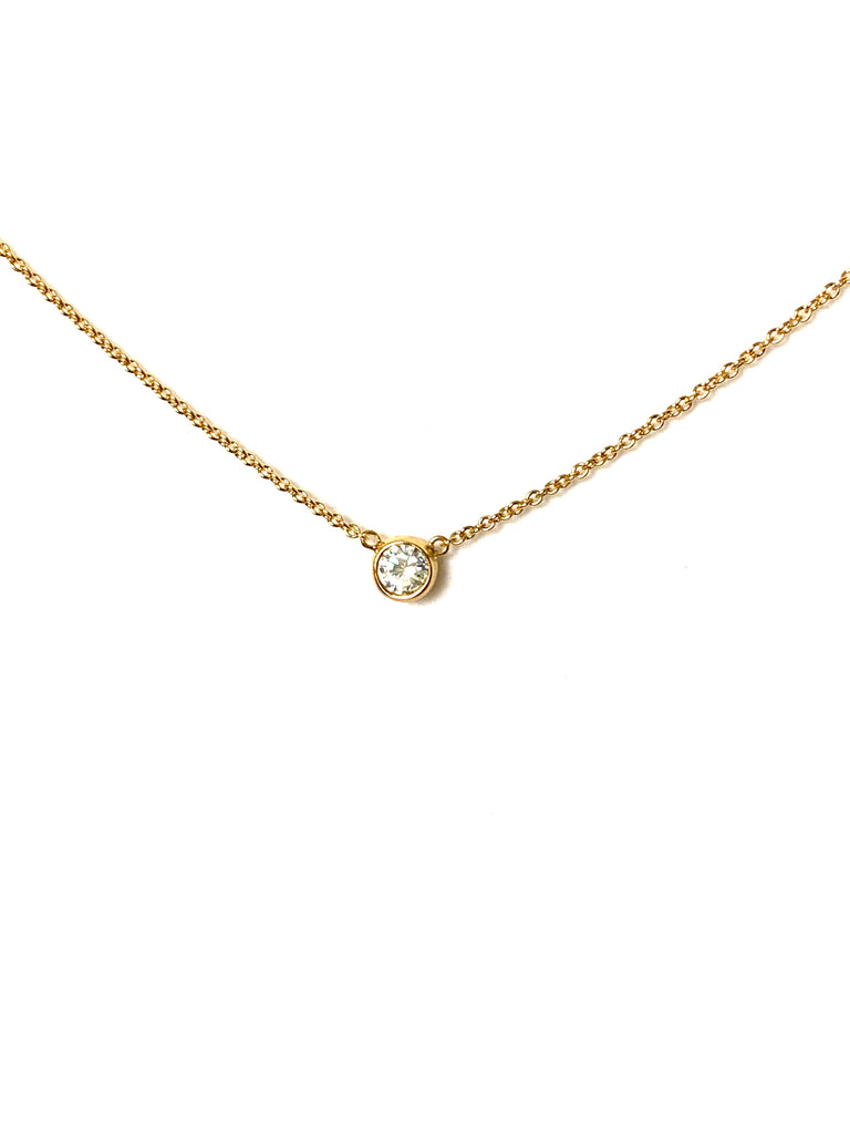 Necklace yellow gold overlay with bezel cz pendant - Ilumine Gallery Store dainty jewelry affordable fine jewelry