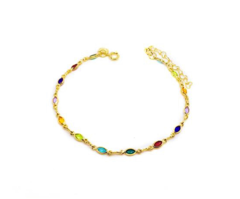 Bracelet yellow gold vermeil with various dots colored crystals - Ilumine Gallery Store dainty jewelry affordable fine jewelry