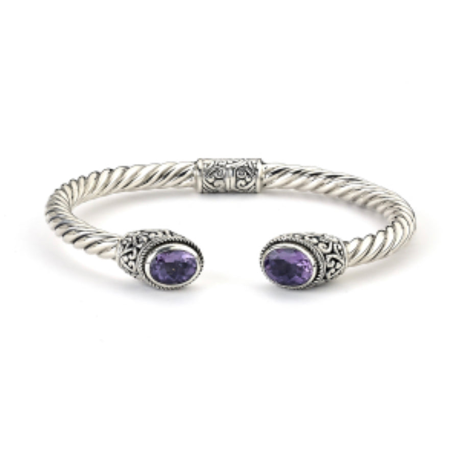 Bracelet sterling silver oval amethyst twisted bangle - Ilumine Gallery Store dainty jewelry affordable fine jewelry
