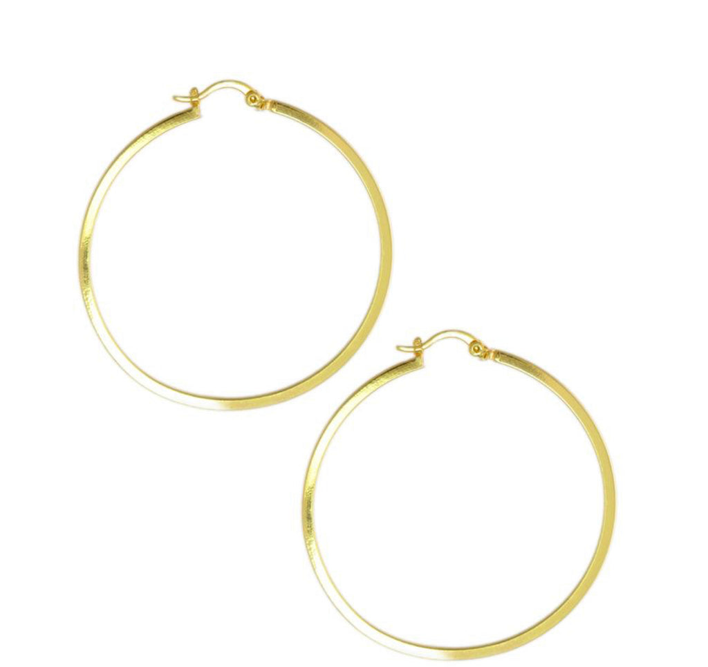 Earrings yellow gold overlay hoops - Ilumine Gallery Store dainty jewelry affordable fine jewelry