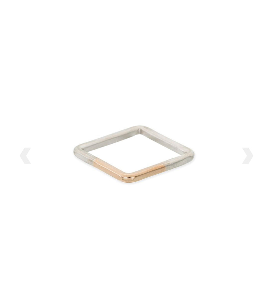 Handcrafted mixed metal square ring - Ilumine Gallery Store dainty jewelry affordable fine jewelry