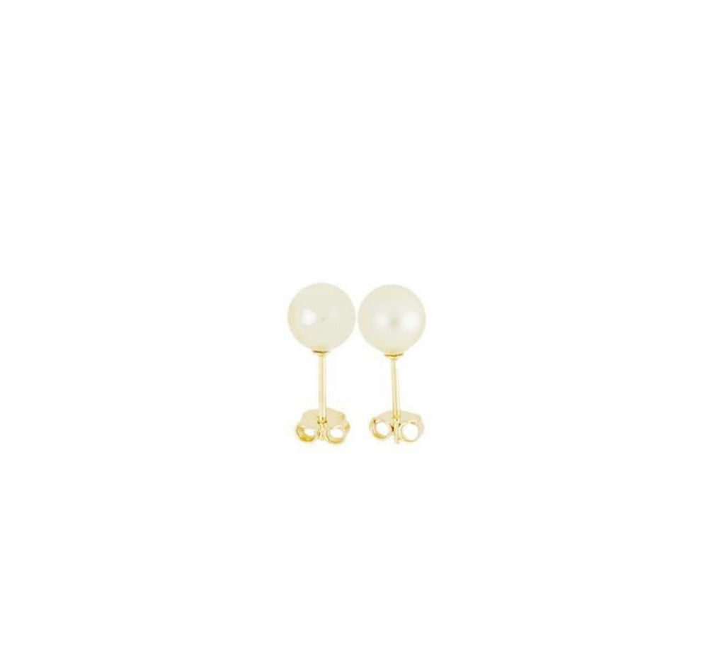 Earrings solid yellow gold freshwater pearl - Ilumine Gallery Store