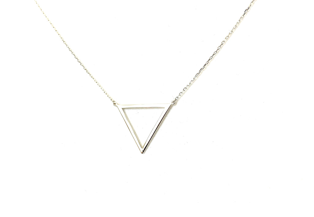 Sterling silver with open triangle pendant - Ilumine Gallery Store dainty jewelry affordable fine jewelry