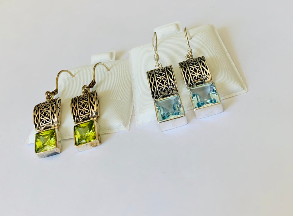 Earrings sterling silver with gemstones - Ilumine Gallery Store dainty jewelry affordable fine jewelry
