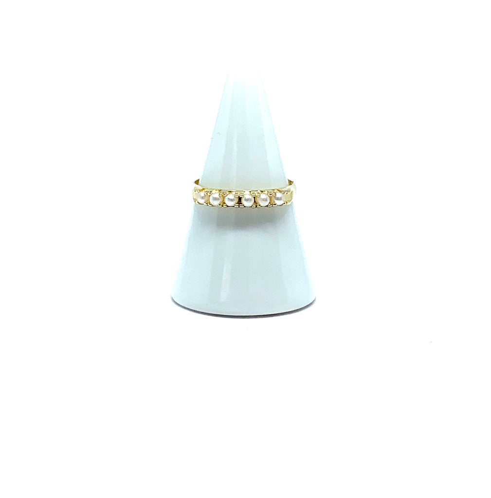 Rings yellow gold stacking ring with pearls - Ilumine Gallery Store dainty jewelry affordable fine jewelry