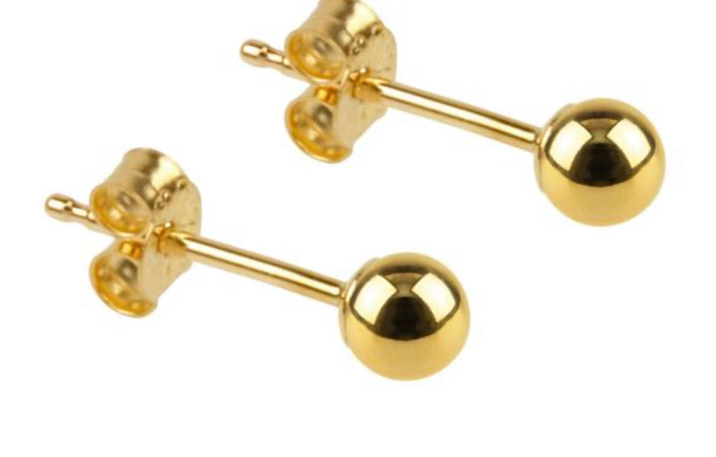 Earrings solid yellow gold and solid white gold ball studs - Ilumine Gallery Store dainty jewelry affordable fine jewelry