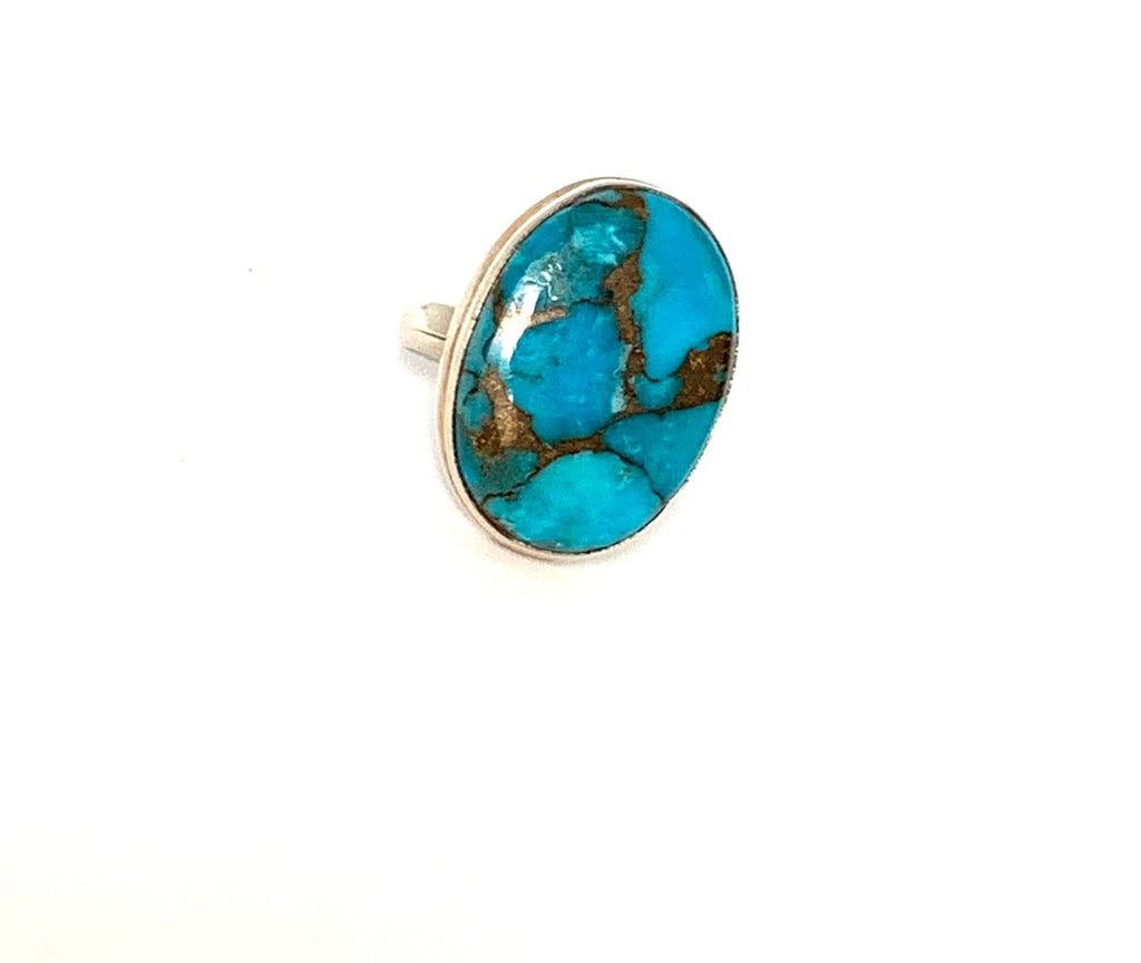 Ring sterling silver with turquoise gemstone - Ilumine Gallery Store dainty jewelry affordable fine jewelry