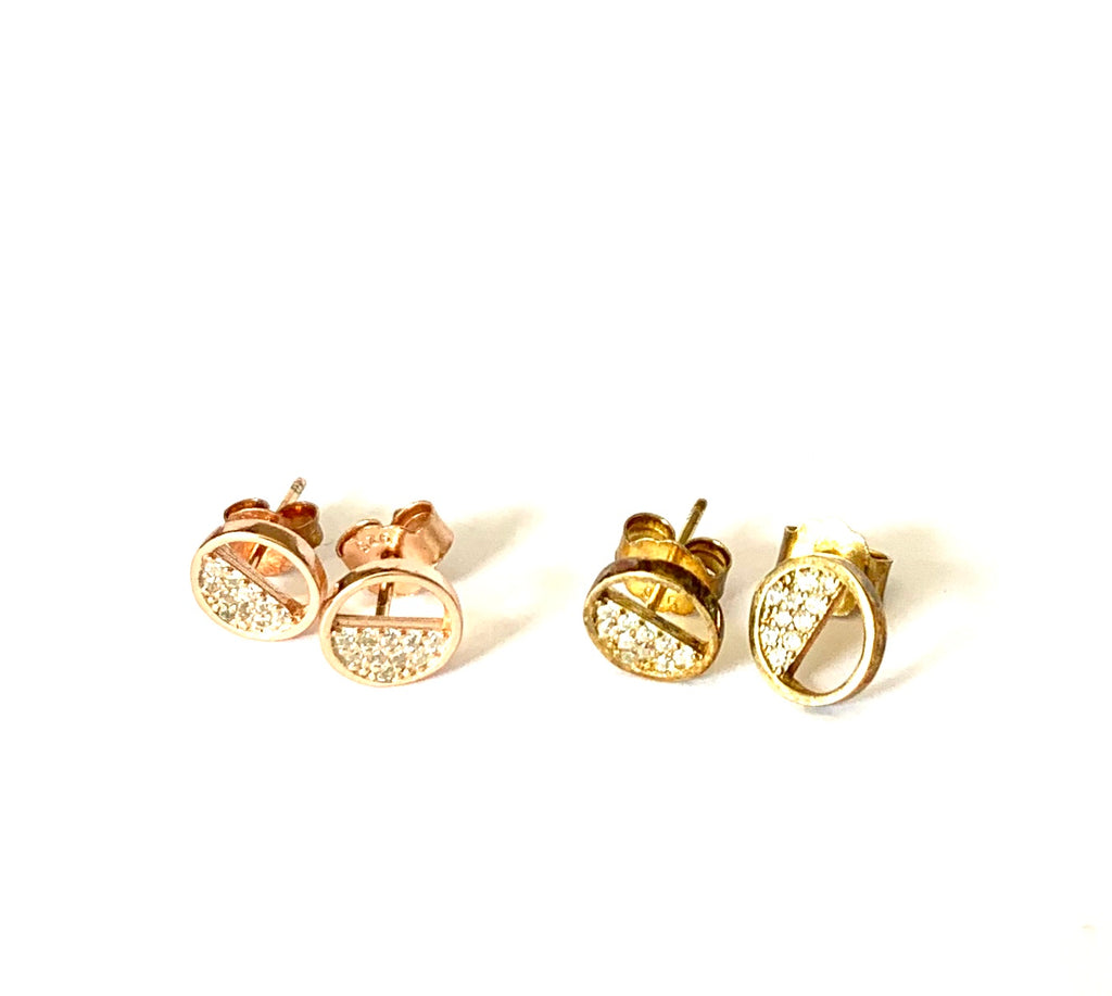 Earrings yellow or rose gold circle studs with cz's - Ilumine Gallery Store dainty jewelry affordable fine jewelry