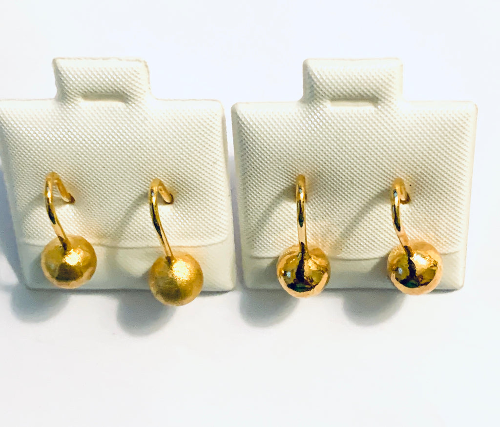 Earrings yellow gold overlay ball earrings - Ilumine Gallery Store dainty jewelry affordable fine jewelry