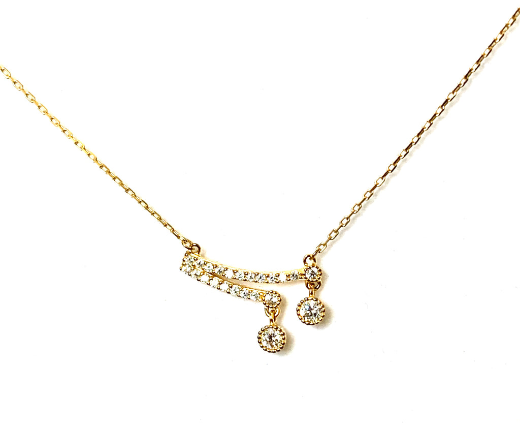 Yellow gold necklace with simulated diamonds - Ilumine Gallery Store dainty jewelry affordable fine jewelry