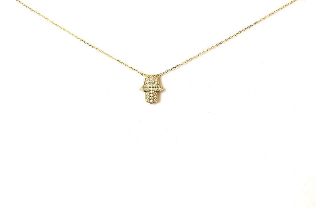 Necklace sterling silver or yellow gold khamsa or hand of fatima - Ilumine Gallery Store dainty jewelry affordable fine jewelry
