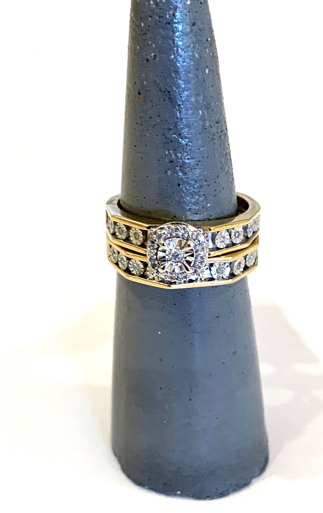Solid Yellow Gold Diamond Miracle Plat Ring - Ilumine Gallery Store dainty jewelry affordable fine jewelry