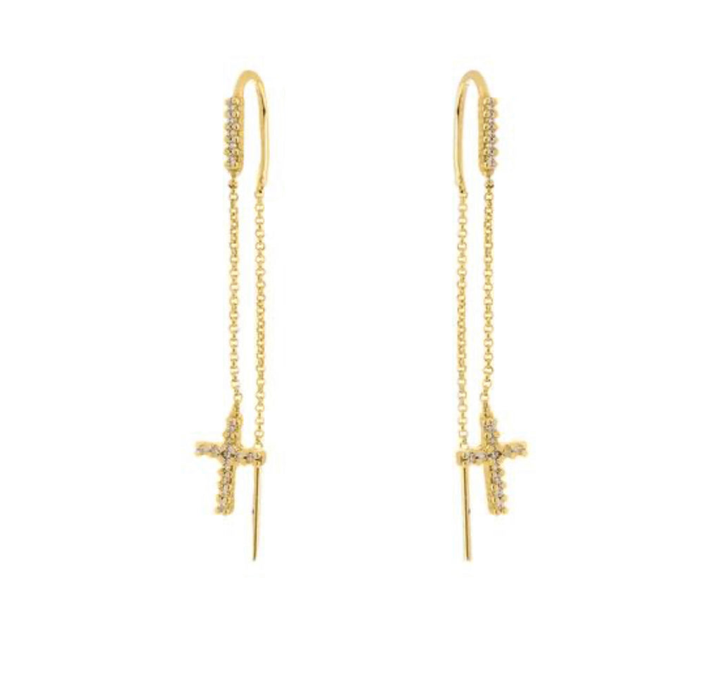 Earrings yellow gold overlay cross drop threader - Ilumine Gallery Store dainty jewelry affordable fine jewelry