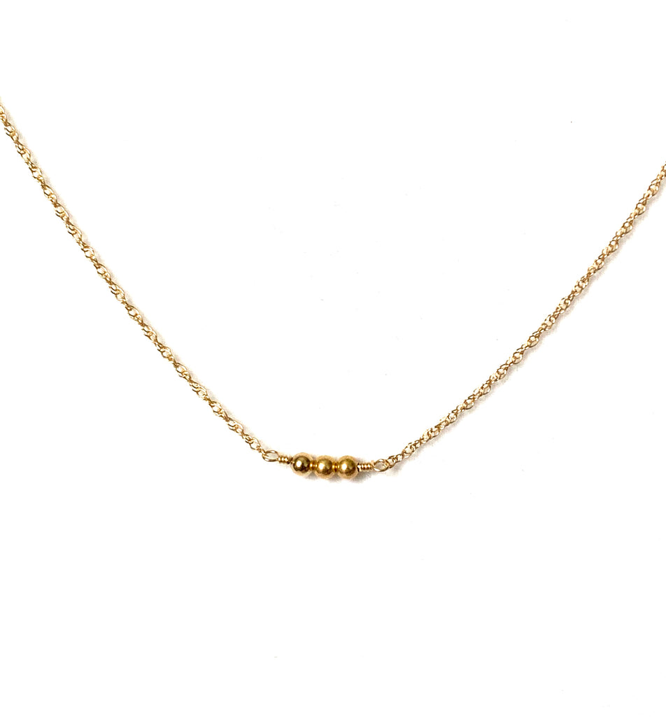 Necklace yellow gold with one or three balls pendant - Ilumine Gallery Store dainty jewelry affordable fine jewelry