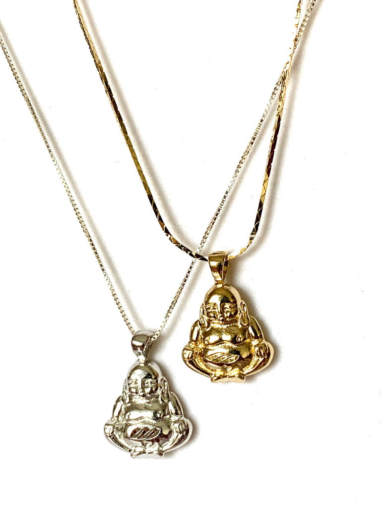 Necklace yellow gold or sterling silver with buddha pendant - Ilumine Gallery Store dainty jewelry affordable fine jewelry