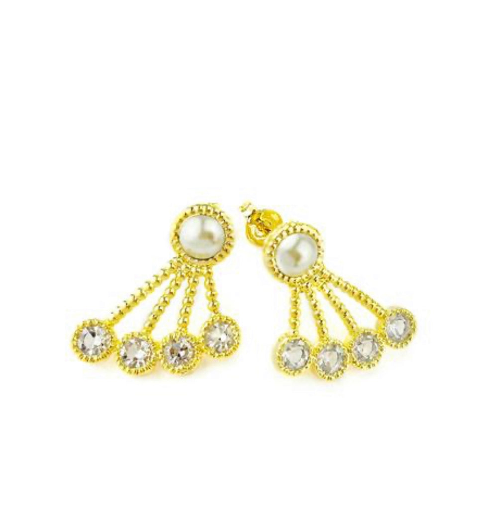 Earrings yellow gold pearl on pearl or pearl on crystals - Ilumine Gallery Store dainty jewelry affordable fine jewelry